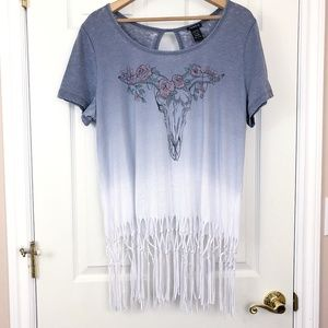 Torrid Ombre Graphic Tee with Fringe